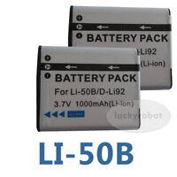 2X Battery for Pentax D-LI92 Olympus LI-50B Optio I-10 RZ18 Optio WG-2 WG-1