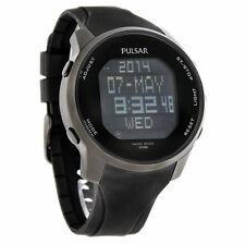 Pulsar PQ2011 Digital Watch Stainless Steel Black Polyurethane Band  MSRP $185