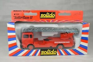 """Solido France #3111 Mercedes Fire Ladder Truck 5 7/8"""" Long Mint With Box"""