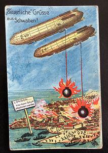 Ak Postkarte - Wk1 - London -Zeppelin-Feuerliche Grüße aus Schwaben