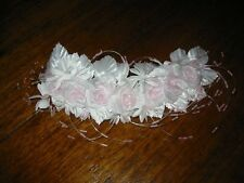 Tocado Corona de flores Boda ~ Hecho a mano ~ blanco rosa Brillo #33