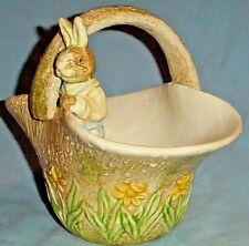 "Ceramic Easter Basket Planter w Rabbit Standing Inside, Embossed Daffodils/7"""