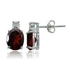Sterling Silver African Garnet and Diamond Accent Oval Drop Stud Earrings