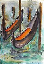 Venice Landscape Original Watercolor Painting Gondola Boat Gondolas Italy