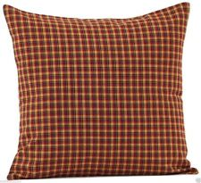 "Rustic Country Red Plaid Cotton Pillow with Fill 16"" Square Patriotic Patch"