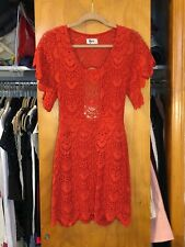 Nightcap Red Spanish Lace Flutter Mini Dress Stretchy Small 4 / 6 S Backless