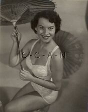 Org Vintage 1940s-60s Semi Nude (8 x 10) Pinup RP- Detroit- Swimsuit- Umbrella