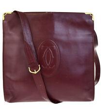 Authentic Must De Cartier 2C Logos Shoulder Bag Leather Bordeaux Gold 08V1095
