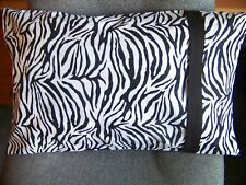 TRAVEL SIZE PILLOWCASE BLACK & WHITE ZEBRA /BLACK BAND/CUFF #999