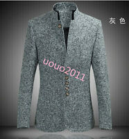 Mens Tunic Suit Dress Jackets Slim Fit Outwear Coats Stand Collar youth M-6XL sz