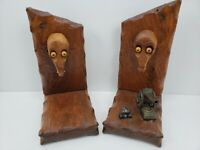 Rare Hand Carved Bookends with Cannon/Balls Unique Carved Heads