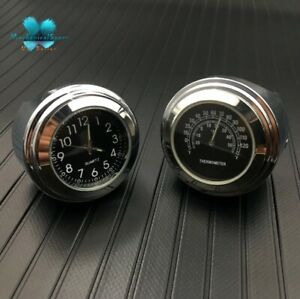 """New 7/8""""-1"""" Motorcycle Handlebar Mount Watch Black Dial Clock & Thermometer Temp"""