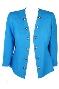 Kasper Grotto Blue 3/4-Sleeve Grommet-Trim Blazer 4