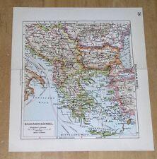 1938 ORIGINAL VINTAGE MAP OF BALKANS YUGOSLAVIA SERBIA GREECE VERSO ITALY ISTRIA