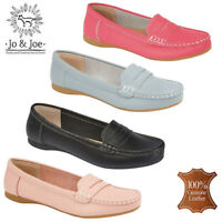 Ladies 100% Leather Loafers Casual Office Work Slip On  Pumps Shoes UK 3-8