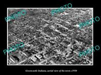 OLD LARGE HISTORIC PHOTO GREENCASTLE INDIANA, AERIAL VIEW OF THE TOWN c1950