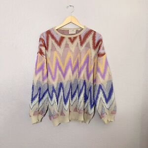 Vintage Pronto Uomo Men's XL Sweater Cosby Colorful Coogi Style Missoni Inspired