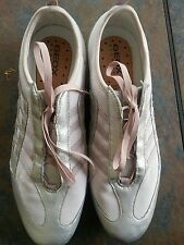 GEOX Women's Respira Leather and Canvas Sneaker SzUK9 / US 10 light pink/silver