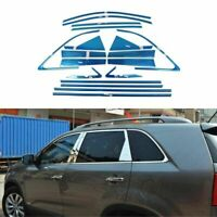 Full Windows Molding Trim Decoration Strips w/ Center Pillar For Kia Sorento