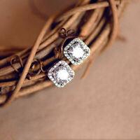 4.00 Ct Round Cut Moissanite Halo Stud Earrings 14K White Gold Finish
