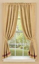 Primitive Country Burlap and Wine Check Panel Curtains 72WX63L Tan Cotton