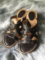 Born Strappy Dark Brown Leather Cork Wedge Sandals, US Women's Size 7, EUR 38