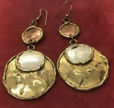 Vintage Earrings Sculptural Copper Gold Tone Drop Dangle
