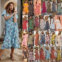 Womens Ladies Summer Beach Midi Dress Holiday Sleeveless Print Sun Dress Sundres