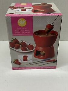 Wilton Fondue Set Forks Chocolate Dessert Snack Red Ceramic New Gift Party NEW