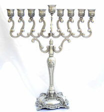 "Hanukkah Menorah Chanukah Large Hanukkia Pewter, Oil Or Candles, 19.5"", NEW"