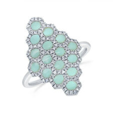 1.26 TCW 14K White Gold Natural Diamond Real Turquoise Honeycomb Cocktail Ring