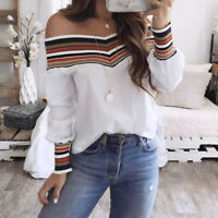 Women Autumn Casual Multicolor Loose Long Sleeve Off Shoulder T-shirt Top Blouse