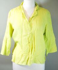 Eileen Fisher Irish Linen Boxy Button Up Top - Petite Medium PM - Lime Green