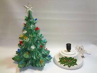 Vintage Atlantic Mold Ceramic Christmas Tree 14 Tall Base ornaments