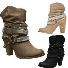 Womens Western Rivet Rhinestone Belt Buckle Combat Ankle Boots Punk Shoes Size