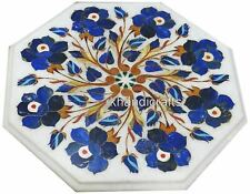 Side Table Top Lapis Lazuli Stone Inlaid Marble Coffee Table with Floral Art