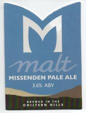 Beer pump clip front. Missenden Brewery, PALE ALE