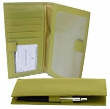 ILI Genuine Leather Checkbook Cover w/ RFB Card Slots and Pen Loop - Moss Green