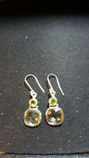 Shivam Made in India .925 Sterling Silver Peridot Green-Amethyst Earrings - NEW