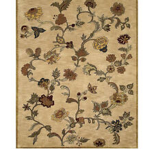 "Bashian Wilshire Floral Shower 100-Percent Wool Pile Area Rug,  Beige 2'6"" x 8'"