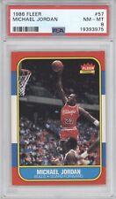 MICHAEL JORDAN PSA 8 1986-87 FLEER BASKETBALL #57 ROOKIE RC BULLS HOF NM-MT 3975