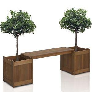 Planter Box With Bench Hardwood Teak Wood Backyard Patio Deck Garden S