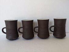 4 DANISH MODERN DANSK DESIGNS FLAMESTONE BROWN DEMITASSE  COFFEE CUPS  DENMARK