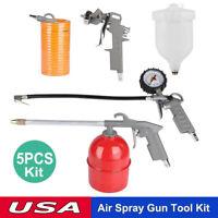 5Pcs Air Compressor Tool Kit Gravity Spray Gun Tyre Inflator Duster Fence Hose S