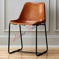 LEATHER INDUSTRIAL METAL IRON UNIQUE DESIGNER DINING CAFE CHAIR SEAT BISTRO