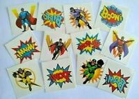36 RETRO SUPER HERO Tattoos / Transfers Boys Birthday Party Loot Bag Fillers