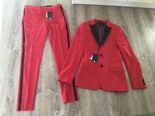 "Asos Red Tuxedo Style Skinny Suit - Size 38"" Chest 32"" Leg 32"" Waist - New"