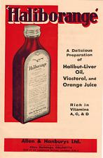 Haliborange Halibut Liver Oil Advertisement Ad, Viosterol, Vitamin Supplement