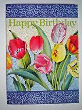 """HAPPY BIRTHDAY"" SPRING TULIPS GREETING CARD + DESIGNER ENVELOPE"