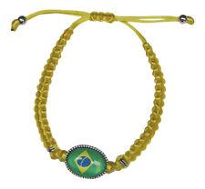 Bracelet jaune style shamballa avec motif drapeau du brésil brésilien ajustable.